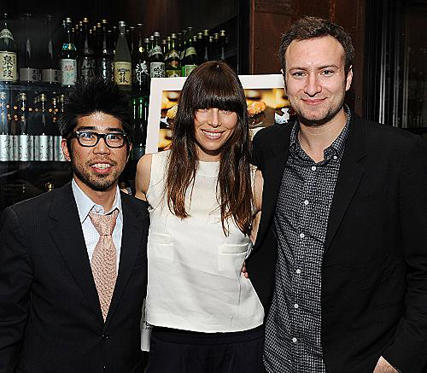 "Slide 1 of 1: SANTA MONICA, CA - MARCH 15: (L-R) Producer Kevin Iwashina, actress Jessica Biel and director David Gelb attend the afterparty for ""Jiro Dreams Of Sushi"" at Ozumo Restaurant on March 15, 2012 in Santa Monica, California. (Photo by Michael Kovac/WireImage)"
