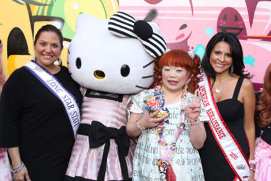 Slide 1 of 29: Yuko Yamaguchi (2nd R) and guests at Sephora's Beauty Launch of the Hello Kitty Graffiti Kitty Collection held at Sephora on July 14, 2011 in Hollywood, California.
