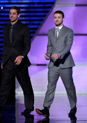 Slide 1 of 177: Quarterback Aaron Rodgers of the NFL's Green Bay Packers and actor/singer Justin Timberlake present the award for 'Best Male College Athlete' onstage at The 2011 ESPY Awards held at the Nokia Theatre L.A. Live on July 13, 2011 in Los Angeles, California.