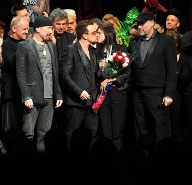 "Slide 1 of 177: The Edge, Bono, Julie Taymor, Phillip William McKinley and the cast of ""Spider-Man Turn Off The Dark"" Broadway on stage during the opening night at Foxwoods Theatre on June 14, 2011 in New York City."