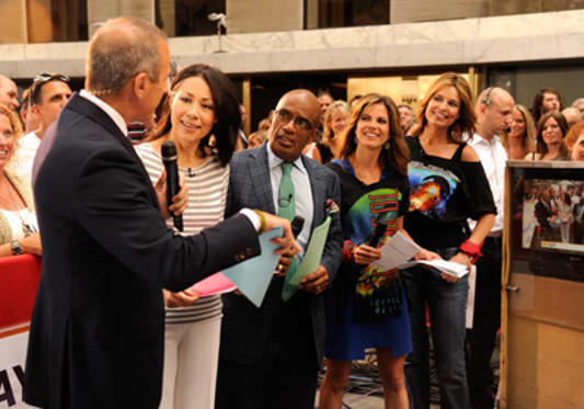 "Slide 1 of 101: NBC hosts Matt Lauer, Ann Curry, Al Roker and Natalie Morales announce Journey's performance on NBC's ""Today"" at Rockefeller Center on July 29, 2011 in New York City."