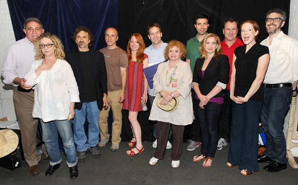 "Slide 1 of 18: (L-R) Dan Lauria, Carol Kane, Dennis Boutsikaris,guest, Lauren Ambrose, Mike Birbiglia, Sandra James,Alex Karpovsky, Anna Chlumsky, Colin Quinn, Jet Eveleth and Ira Glass attend the ""Sleepwalk With Me"" screenplay reading at the Barrow Street Theatre on June 1, 2011 in New York City."