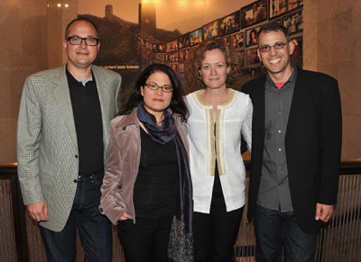 "Slide 1 of 17: Richard Berge, Bonni Cohen, Cara Mertes and Jon Shenk attend the screening of ""Naveen: The Island's President"" during the Sundance 