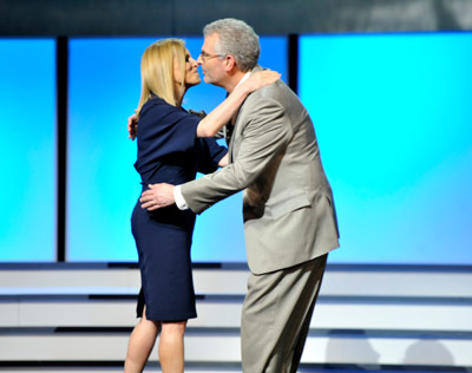 Slide 1 of 7: (EXCLUSIVE COVERAGE) President of Entertainment for The CW Dawn Ostroff and President of The CW Mark Pedowitz on stage at the CW Network's 2011 Upfront at Jazz at Lincoln Center on May 19, 2011 in New York City.