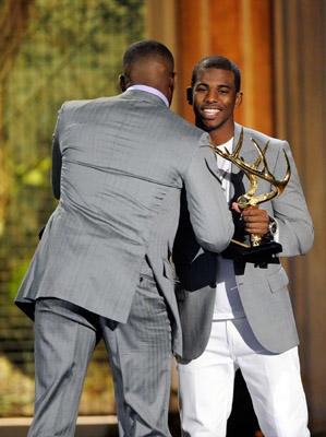 "Slide 1 of 241: Fighter Jon Jones accepts an award from professional basketball player Chris Paul onstage during Spike TV's 5th annual 2011 ""Guys Choice"" Awards at Sony Pictures Studios on June 4, 2011 in Culver City, California."