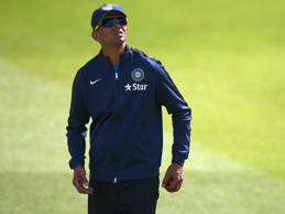 Rahul Dravid of India looks on during a India nets session at Trent Bridge on July 7, 2014 in Nottingham, England.
