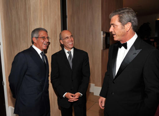 Slide 1 of 23: President of Universal Studios Ron Meyer, DreamWorks Animation CEO Jeffrey Katzenberg and actor Mel Gibson attend The 25th American Cinematheque Award Honoring Robert Downey Jr. held at The Beverly Hilton hotel on October 14, 2011 in Beverly Hills, California.