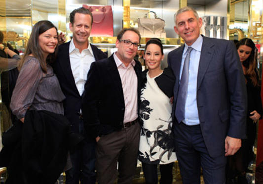 "Slide 1 of 46: Lucy Liu (2nd from R) and Lyor Cohen (R) attend the launch of ""Seventy Two"" by Lucy Liu hosted by Tory Burch on October 12, 2011 in New York City."