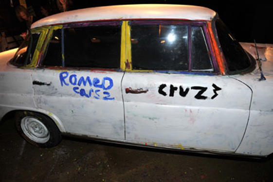 "Slide 1 of 13: A general view of art work done on desplay car by Romeo Beckham and Cruz Beckham at the ""Cars 2"" Los Angeles premiere after party held at the El Capitan Theatre on June 18, 2011 in Hollywood, California. at the Cars 2 premiere in Hollywood on June 17, 2011"