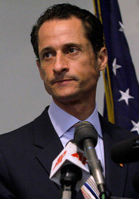 "Slide 1 of 8: U.S. Rep. Anthony Weiner (D-NY) announces his resignation on June 16, 2011 at the Council Center for Senior Citizens in the Brooklyn borough of <a href=/movies/movie/new-york.4/ type=""Msn.Entertain.Server.WebControls.LinkableMovie"" Arg=""2268226"" LinkType=""Page"">New York</a> City. The resignation comes ten days after the congressman admitted to sending lewd photos of himself on Twitter to multiple women."