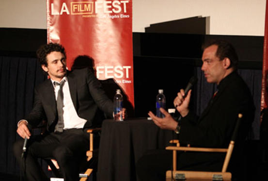 "Slide 1 of 31: Actor James Franco (L) and moderator Francisco J. Ricardo speak onstage at ""The Broken Tower"" An Evening with James Franco during the 2011 Los Angeles Film Festival held at Regal Cinemas L.A. LIVE on June 20, 2011 in Los Angeles, California."