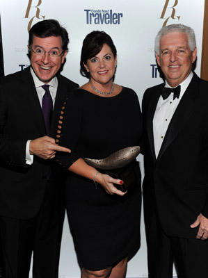 Slide 1 of 102: Stephen Colbert, Helen Hill, Roger Warren speaks at Conde Nast Traveler Readers' Choice Awards at The Edison Ballroom on October 10, 2011 in New York City.