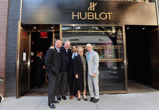 Slide 1 of 24: (L-R) Kevin Frost, CEO and board member of Hublot Jean-Claude Biver, Gabriel Rodriguez, amfAR's Dr. Mathilde Krim and Robert Madjerich pose during the amfAR 25 Limited Edition Timepiece launch at Hublot Boutique on May 11, 2011 in New York City.