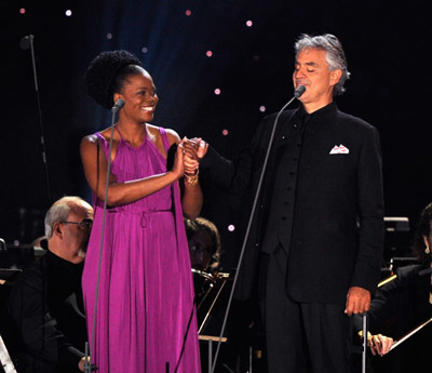 Slide 1 of 185: Pretty Yende and Andrea Bocelli perform at the Central Park, Great Lawn on September 15, 2011 in New York City.