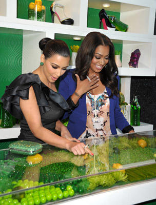 Slide 1 of 35: Kim Kardashian and LaLa Vazquez attend the Midori Melon Liqueur Trunk Show at Trousdale on May 10, 2011 in West Hollywood, California.