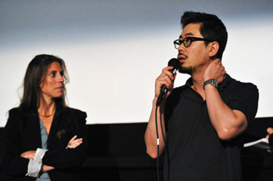 "Slide 1 of 3: Moderator Maggie McKay and director Na Hong-jin speak onstage at the ""The Yellow Sea"" Q & A during the 2011 Los Angeles Film Festival held at the Regal Cinemas L.A. LIVE on June 23, 2011 in Los Angeles, California."