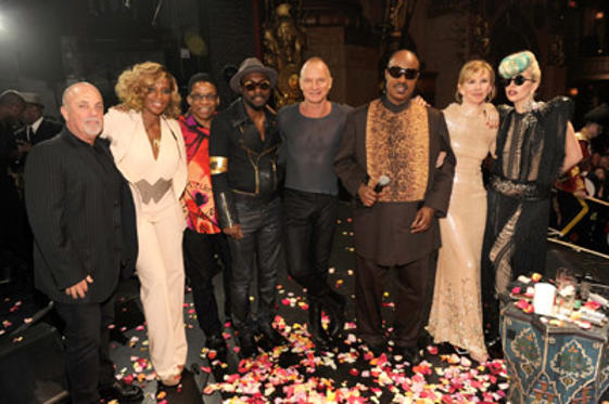 Slide 1 of 5: (EXCLUSIVE COVERAGE) Billy Joel, Mary J Blige, Herbie Hancock, will.i.am, Sting, Stevie Wonder, Trudie Styler and Lady Gaga backstage after STING: 25th Anniversary/60th Birthday Concert to Benefit Robin Hood Foundation at Beacon Theatre on October 1, 2011 in New York City.