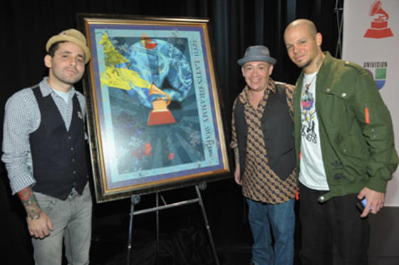 Slide 1 of 33: Musicians Eduardo Cabra Martinez (L) and Rene Perez Joglar (R) of the band CALLE 13 and artist Miguel Paredes (C) pose at the 12th Annual Latin GRAMMY Nominations Press Conference at Avalon on September 14, 2011 in Los Angeles, California.