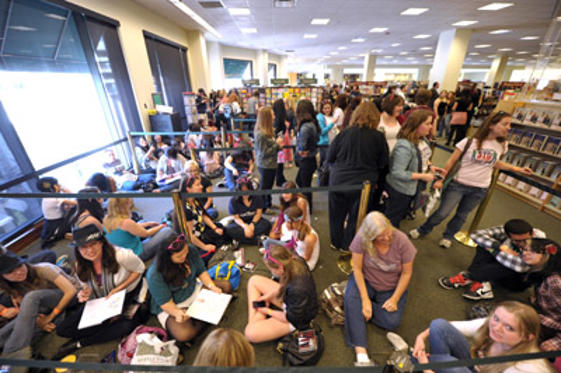 "Slide 1 of 27: A view of fans at Darren Criss' CD signing for ""Glee: The Music Presents The Warblers"" at Barnes & Noble bookstore at The Grove on April 22, 2011 in Los Angeles, California."