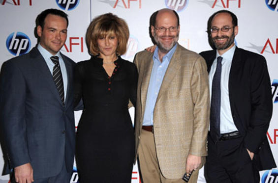 Slide 1 of 229: (L-R) Producer Dana Brunetti, Co- Chairman, Sony Pictures Entertainment and Chairman, Sony Pictures Motion Group Amy Pascal, and Producer Scott Rudin and Columbia Pictures President Doug Belgrad attend the 2010 AFI Awards at The Four Seasons Hotel on January 14, 2011 in Los Angeles, California.