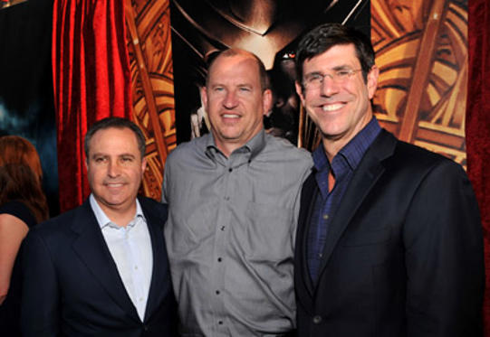 "Slide 1 of 97: President of The Walt Disney Studios Alan Bergman, Paramount Pictures Vice Chairman Rob Moore and Chairman of The Walt Disney Studios Rich Ross arrive at the Los Angeles premiere of ""Thor"" at the El Capitan Theatre on May 2, 2011 in Hollywood, California. at the Los Angeles premiere in Hollywood on May 01, 2011"