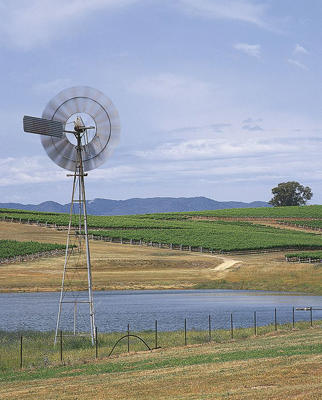 Photo: Water pump surrounded by vineyards, Mudgee