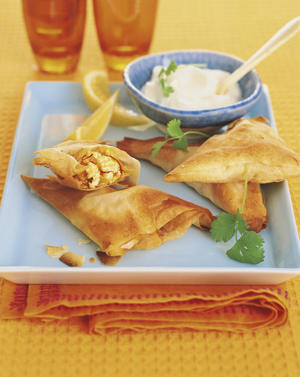 Photo: Saffron feta phyllo triangles