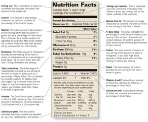 Photo: Nutrition facts label - This part of the label is obligatory on most packaged foods and includes information on serving size, calorie content, and amounts of nutrients contained in the product.