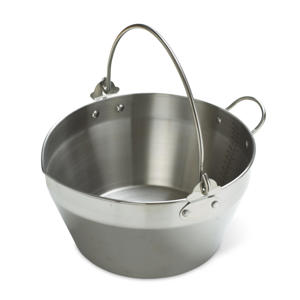 Photo: Stainless steel preserving pan - The thick, heavy base of this pan ensures even heat distribution, while its wide sides allow for rapid boiling. It is ideal for making large quantities of jams, jellies, marmalades, chutneys, and other preserves.
