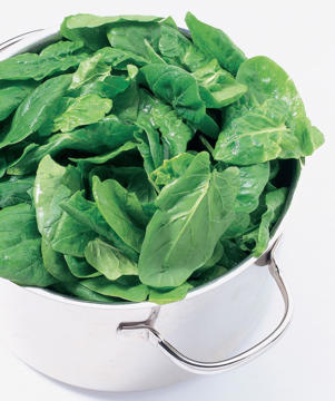 Photo: Spinach - A useful source of iron, especially for vegetarians, spinach also contains beta-carotene (a precursor of vitamin A), vitamins C, E, and folate and calcium, and potassium.