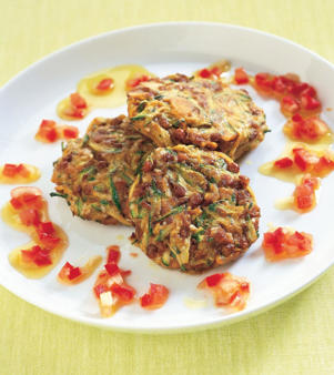 Photo: Healthy proteins - Lentils lend themselves to a variety of appetizing dishes. Here they are formed into patties with grated zucchini, almonds, and sesame seeds.