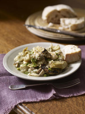 Photo: Artichokes, beans, and peas with bread crumbs stirred in