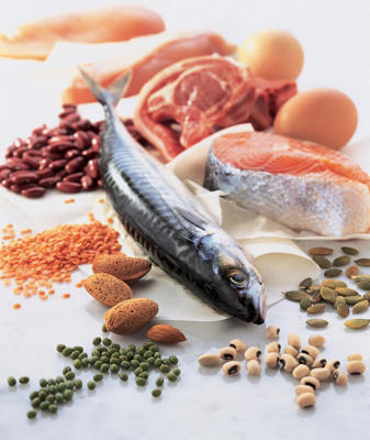 Photo: Protein sources - This group includes animal products, such as meat, poultry, and fish, and plant proteins, such as legumes (see Healthy Protein Sources).