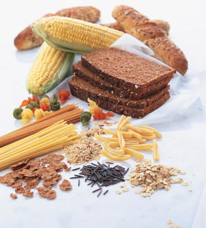Photo: Breads, cereals, and grains - The foods in this group are a valuable source of carbohydrates (see Wholesome Grains) and fiber.