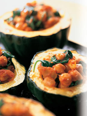 Photo: Potassium-rich acorn squash - Make a tasty vegetarian meal by baking acorn squash halves, scooping out the seeds, and filling with a mixture of spicy chickpeas, warm baby-leaf spinach, and tomato paste.