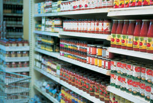 Photo: Well-stocked shelves - Mass food-production methods ensure a plentiful, year-round supply of food products, preserved by a variety of methods, from canning to freezing.