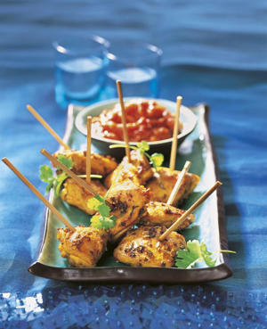 Photo: Saffron chicken skewers