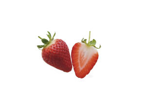 Photo: Strawberries - The best strawberries are well shaped, glossy, and red throughout. The hull should be green and fresh looking.