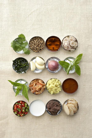 Photo: Signature ingredients - Top row (left to right): cilantro, coriander seeds, fish sauce, lemongrass; second row: lime leaves, garlic, red shallots, Thai basil; third row: mint, dried shrimp, ginger, tamarind; bottom row: chiles, coconut milk, shrimp paste, galangal.