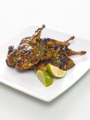Photo: Small game birds, such as quail, can be quickly cooked on a barbecue, or under a grill. A glaze adds flavor, but be careful not to mask the delicate flavor of the meat.