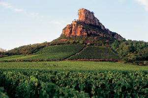 Photo: Vineyards and the Rock of Solutré, Pouilly-Fuissé