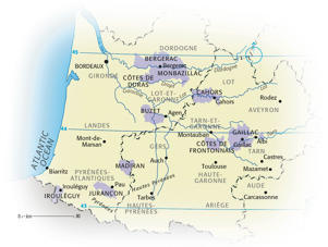 Photo: Principal appellations of Southwest France