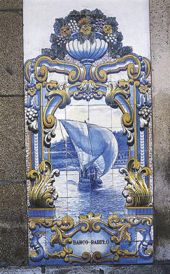 Photo: Tile depicting boat ferrying port