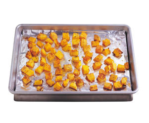 Photo: Roasting in a pan with a little vegetable oil in the bottom improves the flavor of diced root vegetables and winter squashes, among other vegetables. You can add extra flavor by tossing in some fresh herbs.