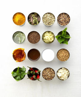 Photo: Signature ingredients - Top row (left to right): turmeric, cardamom, fennel seeds, mustard seeds; second row: lime, cumin seeds, ginger, mint; third row: saffron, tamarind, coconut, fenugreek; bottom row: cilantro, chiles, coriander seed, garlic.