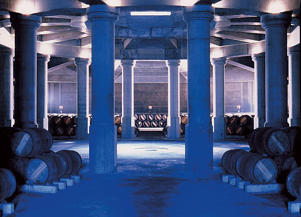 Photo: Cellar designed by Ricardo Bofill at Château Lafite-Rothschild