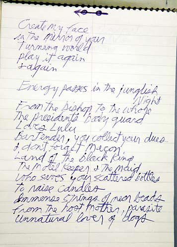 "Slide 1 of 1: <P style=""PADDING-TOP: 20px;PADDING-BOTTOM: 10px"">Jim Morrison's last known handwritten notebook, containing finished and unfinished poems, lyrics and musings (Image: John Horsley/Retna U.K.)</p>"