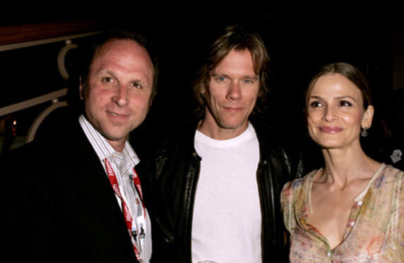 Slide 1 of 49: Bob Berney, President of Newmarket Films, with Kevin Bacon and Kyra Sedgwick