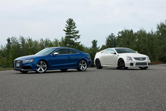 Slide 1 of 32: 2013 Audi RS 5 and Cadillac CTS-V Coupe
