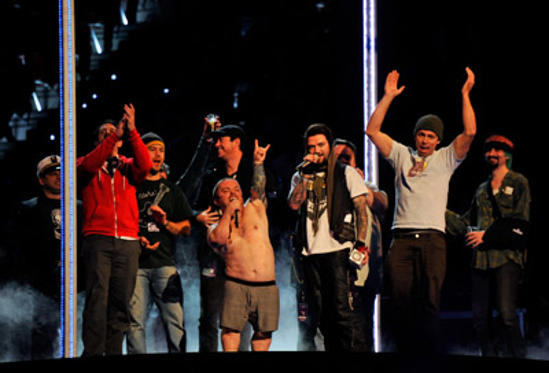 Slide 1 of 175: Cast and crew of Jackass perform onstage during the MTV Europe Music Awards 2010 live show at La Caja Magica on November 7, 2010 in Madrid, Spain.